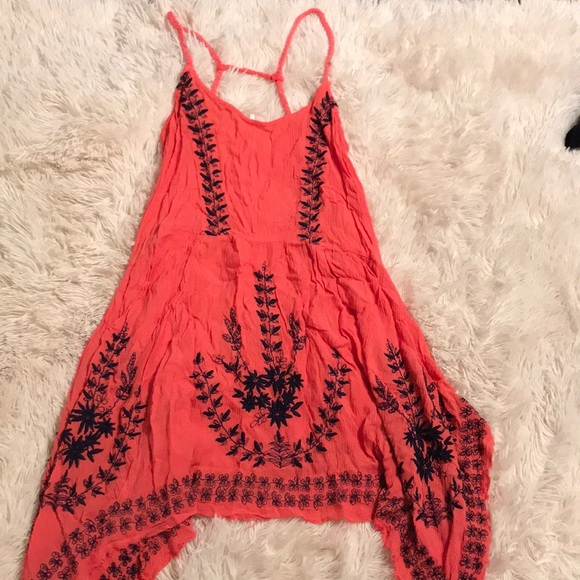 bf32fa8574ef Free People Dresses | Coral Pink Dress With Navy Blue Stitch | Poshmark